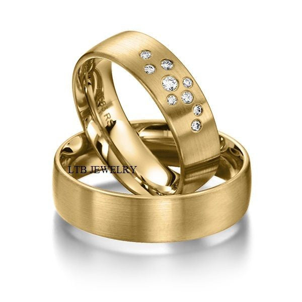 Matching Wedding Bands,10K Yellow Gold His & Hers Wedding Rings,Diamond Rings