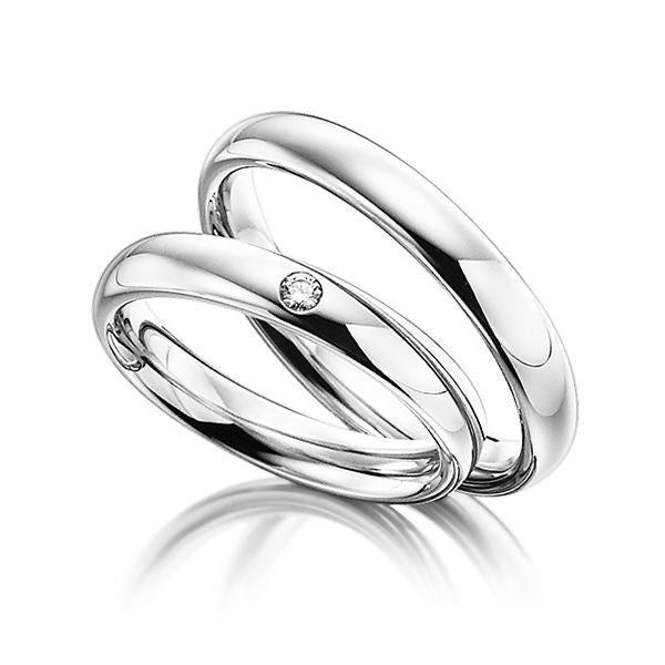 His and Hers Wedding Rings,10K White Gold Matching Wedding Bands with Diamonds