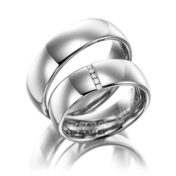 14K White Gold His & Hers Wedding Bands,Matching Wedding Rings with Diamonds