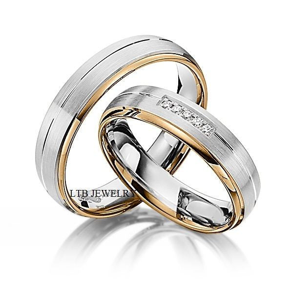 His and Hers Wedding Rings,10K Two Tone Gold Matching Wedding Bands with Diamond