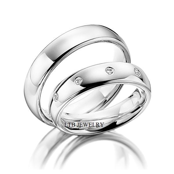 His and Hers Matching Wedding Bands Set,10K White Gold Diamond Wedding Rings