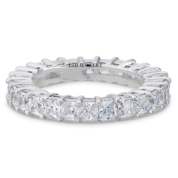 2.90 Princess Cut Diamond Eternity Rings,14K White Gold Womens Wedding Rings