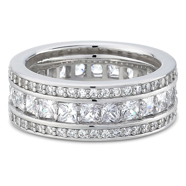 4.48 Carats Womens Wedding Bands,14K White Gold Diamond Eternity Rings