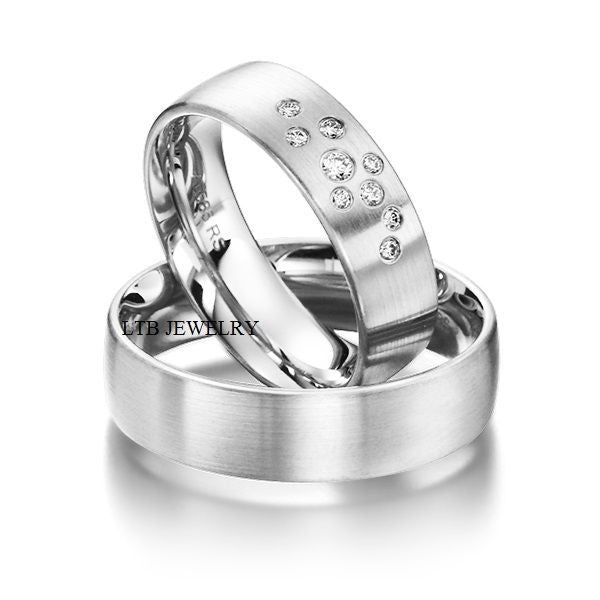 Matching Wedding Bands,14K White Gold His & Hers Wedding Rings,Diamond Rings