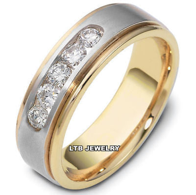 MENS 14K TWO TONE GOLD DIAMOND WEDDING BAND RING