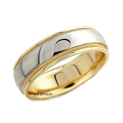 MENS 10K TWO TONE GOLD WEDDING BAND RING