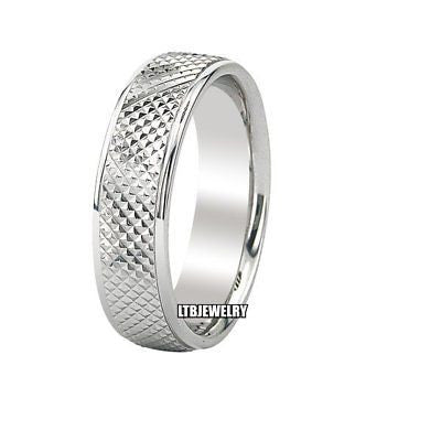 MENS 18K WHITE GOLD WEDDING BAND RING 6MM
