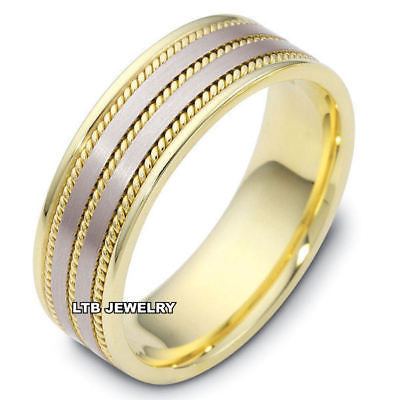 MENS 18K TWO TONE GOLD WEDDING BAND RING   8MM