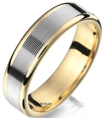 10K TWO TONE GOLD MENS  WEDDING BAND RING  6MM