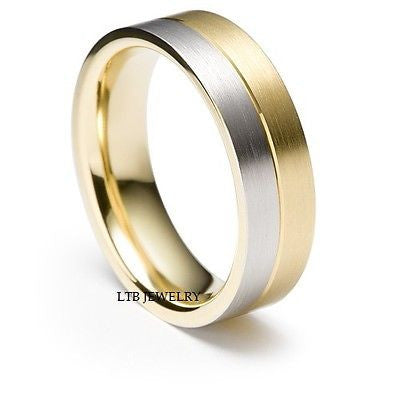 MENS 18K TWO TONE WHITE AND YELLOW GOLD BAND RING 6MM