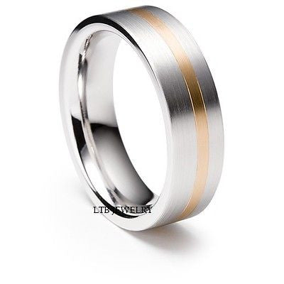 18K TWO TONE GOLD WEDDING BAND RING  MENS 6MM