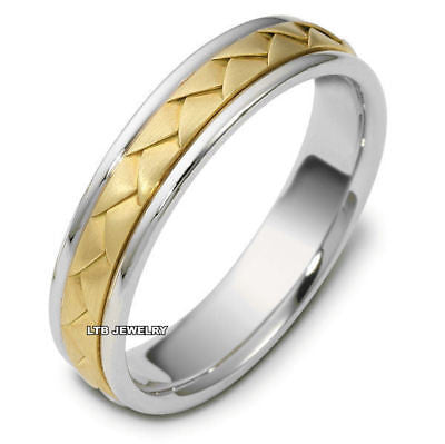 14K TWO TONE GOLD MENS BRAIDED WEDDING BAND RING  5MM