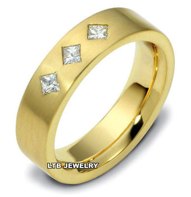 18K YELLOW  GOLD MENS DIAMOND WEDDING BAND RING  6MM