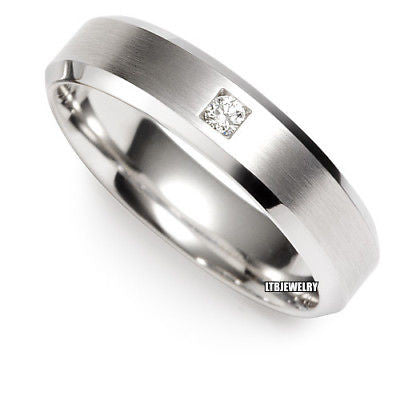 18K WHITE GOLD MENS WEDDING BAND DIAMOND RING 5MM