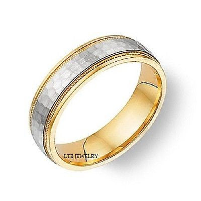10K MENS  WEDDING BAND RING TWO TONE GOLD HAMMERED 6MM