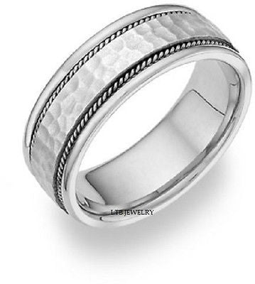 14K MENS WHITE GOLD WEDDING BAND RING HAMMERED 7MM