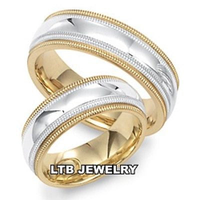 18K TWO TONE GOLD MATCHING HIS & HERS WEDDING BANDS RINGS MENS WOMENS SET