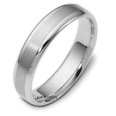 MENS 10K WHITE GOLD WEDDING BAND RING 5MM