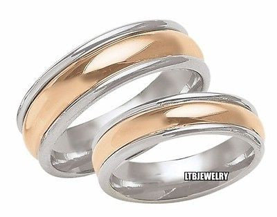 14K TWTONE GOLD MATCHING HIS & HERS WEDDING BANDS 6MM&5MM MENS WOMENS SET