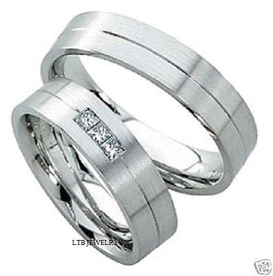 14K WHITE GOLD MENS WOMENS HIS & HERS MATCHING WEDDING BANDS RINGS