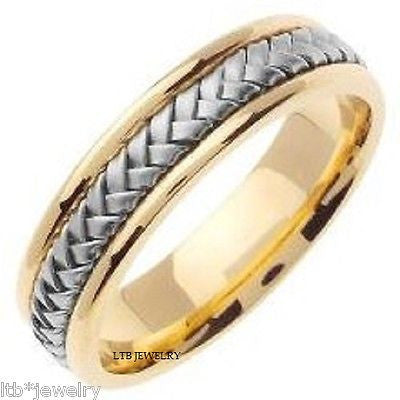 18K TWO TONE GOLD MENS  BRAIDED BAND RING 6MM