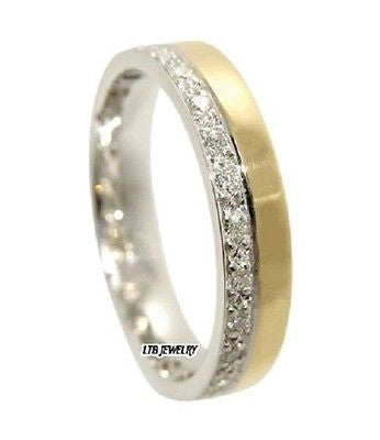MENS 10K TWO TONE GOLD  DIAMOND WEDDING BAND RING  4MM