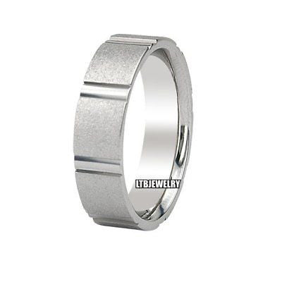 MENS 18K WHITE GOLD WEDDING BAND RING 5.5MM