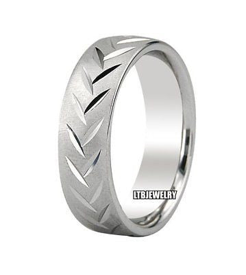 MENS 14K WHITE GOLD WEDDING BAND RING 6MM