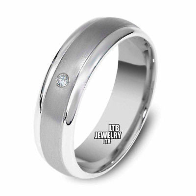 18K WHITE GOLD MENS DIAMOND WEDDING BAND RING  6MM
