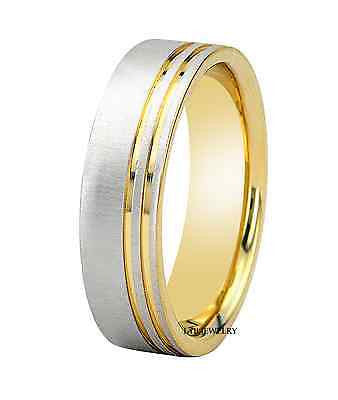 MENS 10K TWO TONE GOLD WEDDING BAND RING  6MM