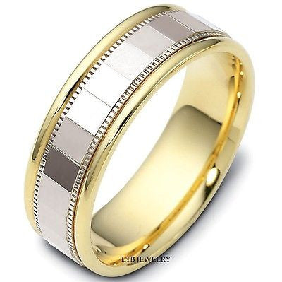 18K TWO TONE GOLD MENS WEDDING BAND RING  7MM