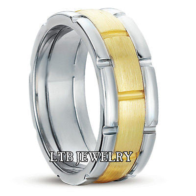 14K TWO TONE GOLD MENS  WEDDING BAND RING 8MM
