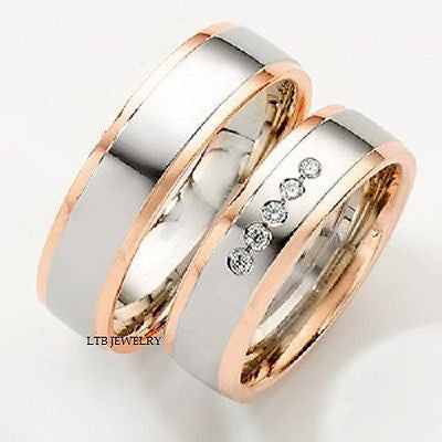 10K TWO TONE GOLD MATCHING HIS & HERS WEDDING BANDS DIAMOND RING MENS WOMENS SET