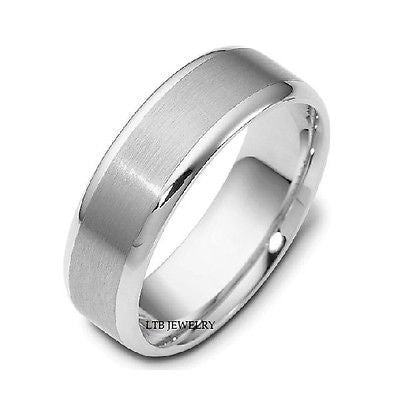 10K WHITE GOLD WEDDING BAND  RING 7MM MENS