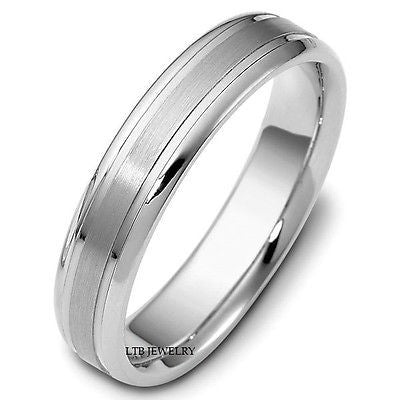 MENS 950  PLATINUM WEDDING BAND RING 5MM