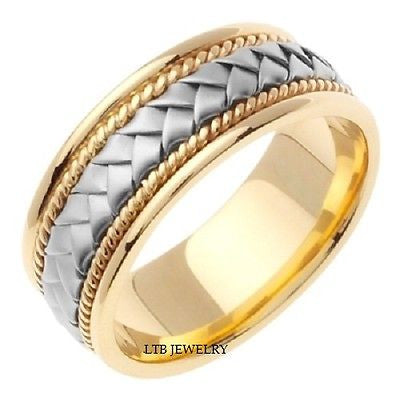 18K TWO TONE GOLD MENS  BRAIDED WEDDING BAND RING