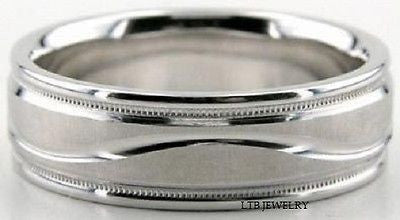 MENS 14K WHITE GOLD DOME WEDDING BAND RING  6.5MM