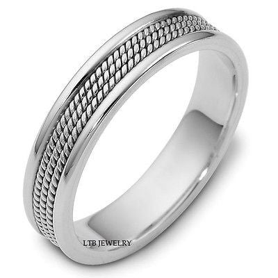MENS 18K WHITE GOLD BRAIDED WEDDING BAND RING  5MM