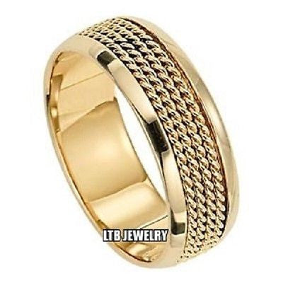 14K YELLOW GOLD MENS  WEDDING BAND RING