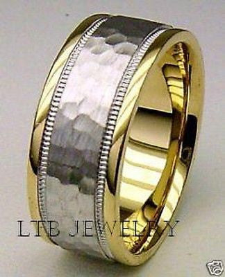 18K MENS TWO TONE GOLD WEDDING BAND RING HAMMERED 8MM
