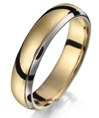 18K TWO TONE GOLD  MENS WEDDING BAND RING 5MM