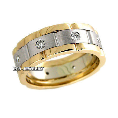 MENS 18K TWO TONE GOLD  DIAMOND WEDDING BAND RING  8MM