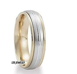 10K TWO TONE GOLD 6MM MENS WEDDING BAND RING SIZES 4-13