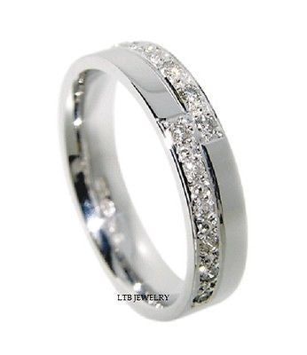 MENS 14K WHITE GOLD  DIAMOND WEDDING BAND RING  4.5MM