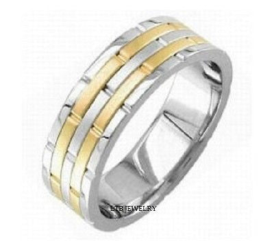 MENS 18K TWO TONE GOLD WEDDING BAND RING SATIN FNSH 8MM