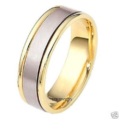 MENS 14K TWO TONE GOLD WEDDING BAND RING SATIN FNSH 7MM