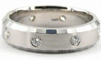 MENS 10K WHITE GOLD WEDDING BAND DIAMOND RING 6MM