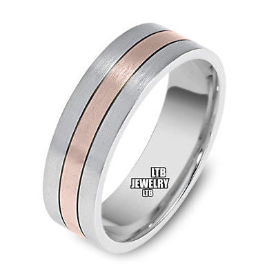 10K TWO TONE GOLD WEDDING BAND MENS RING