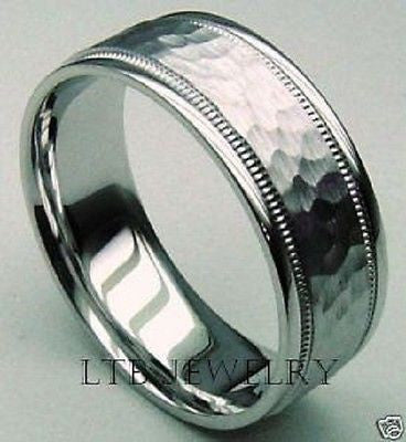 14K WHITE GOLD MENS WEDDING BAND RING HAMMERED 7MM