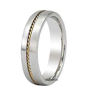 10K MENS TWO TONE GOLD WEDDING BAND RING BRAIDED 5MM